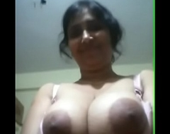 Indian Aunty Akin to Chunky Tits Gap Half-top