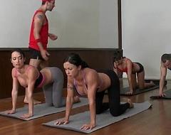 Cfnm yoga mummy group closeup swapping jizz